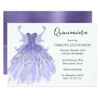 Lavender Purple Pixie Wing Gown | Quinceanera Invitation