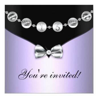 Lavender & Silver Bowed Charm Sweet Sixteen Invite
