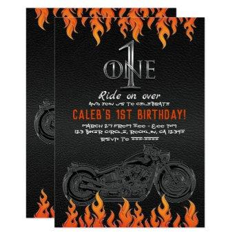 Leather & Orange Flames Motorcycle 1 1ST Birthday Invitation