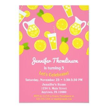 Lemonade Birthday Invitation Pink Summer Lemons