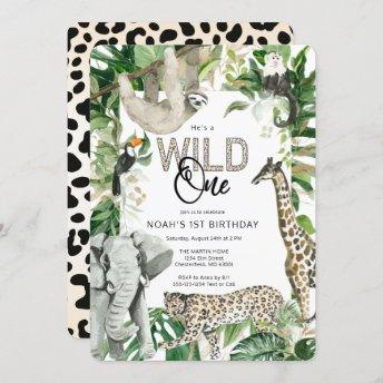 Leopard Wild One First Birthday Invitation