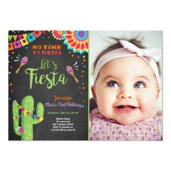 Let's Fiesta invitation Mexican Birthday Cactus