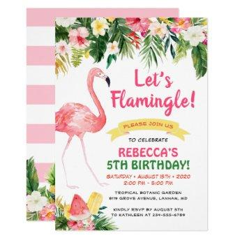 Let's Flamingle Floral Summer Kids Birthday Party Invitation