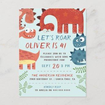 Let's Roar Dino Children's Birthday Party Invitation PostInvitation