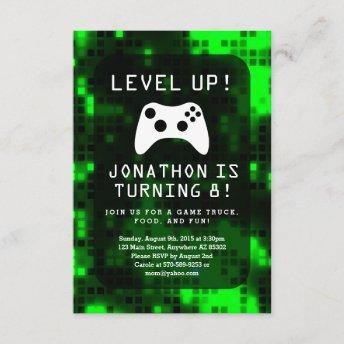 Level Up Video Game Game Truck Birthday Party Invitation