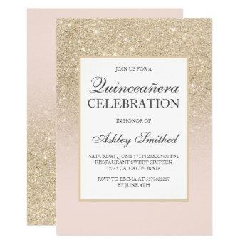 Light gold girly glitter elegant chic Quinceañera Invitation