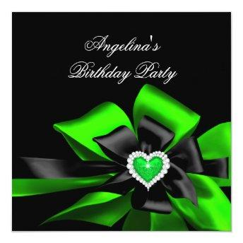 Lime Green Heart Black Bow Image Birthday Party