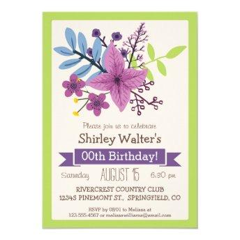 Lime Green & Violet Purple Adult Birthday Party