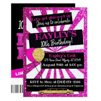 Limo Party VIP Pass Pink & gold Glitter invitation