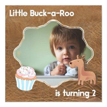 Little Buckaroo Second Birthday Picture Invitation