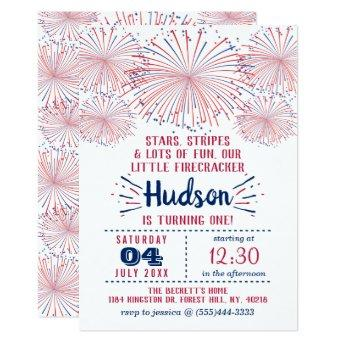 Little Firecracker 4th Of July 1st Birthday Party Invitation