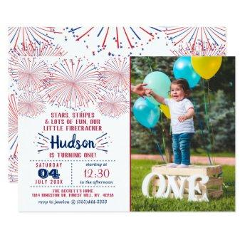 Little Firecracker 4th Of July 1st Birthday Photo Invitation