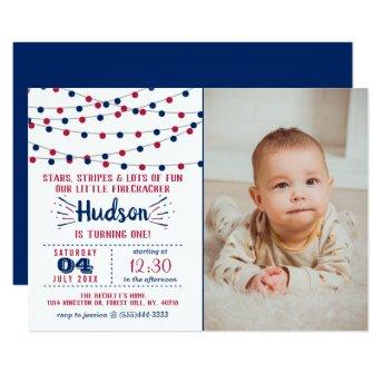 Little Firecracker 4th Of July Photo 1st Birthday Invitation