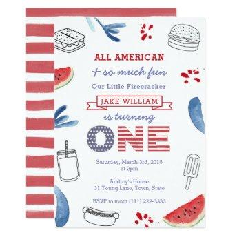 Little Firecracker Red White Blue First Birthday Invitation
