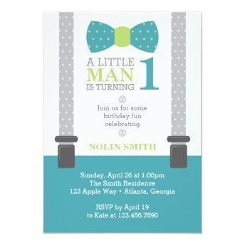 Little Man Birthday Party, Teal, Gray, Green