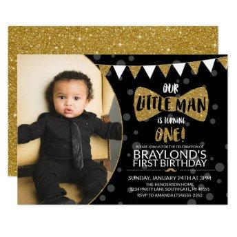 Little Man Black and Gold Photo Invitation