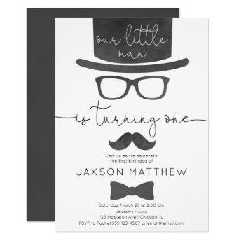 Little Man boy 1st birthday party Invitation