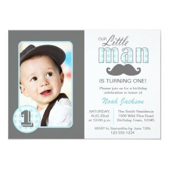 Little Man First Birthday Mustache Blue Grey Photo Invitation