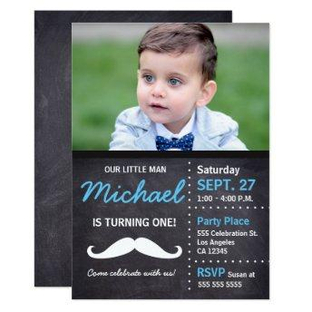 Little Man is turning 1 | Birthday Mustache theme Invitation