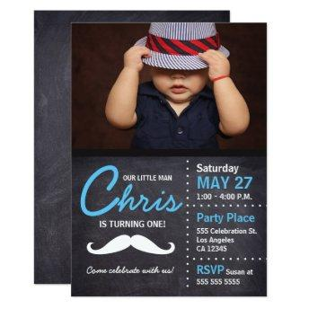 Little Man is turning one - photo, mustache, chalk Invitation