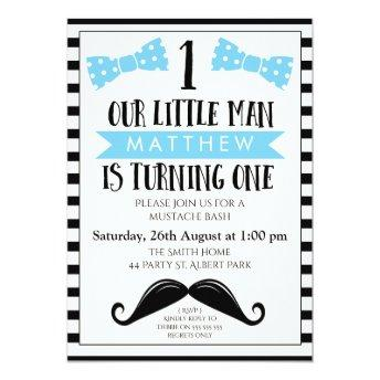 Little Man Mustache 1st Birthday Invitation