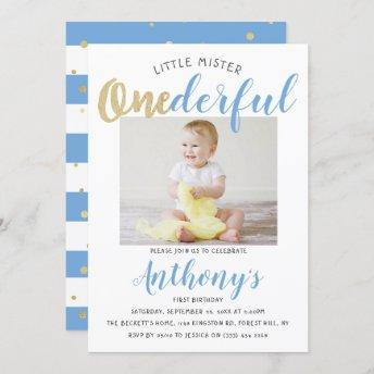 Little Mister Onederful Photo 1st Birthday Invitation