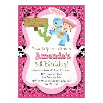 Little Pony Cowgirl Birthday Party Invitaiton
