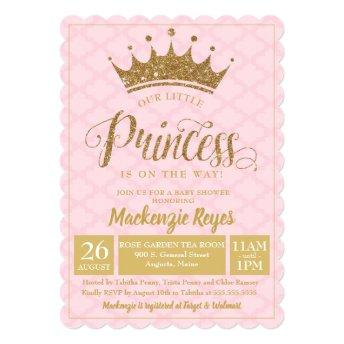Little Princess Gold Crown Baby Shower Invitation