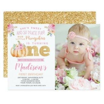 Little Pumpkin 1st Birthday Invitation with Photo