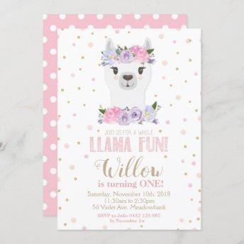 Llama 1st First Birthday Pink Purple Floral Girl Invitation