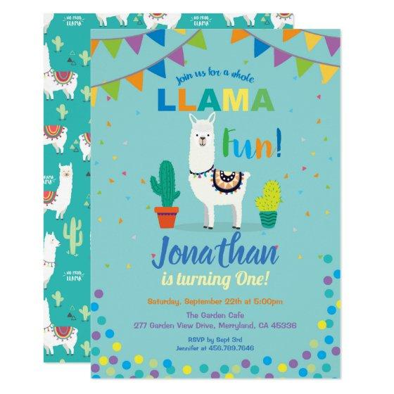 1.90 Llama fun first 1st birthday invitation. Turquoise Invitation