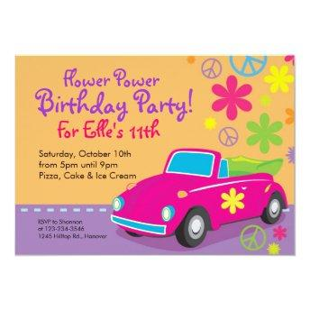 Love Bug Hippie Birthday Party Invitation