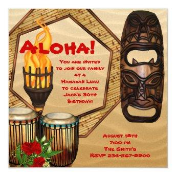 Luau Birthday Party Hawaiian Luau Party Invitation