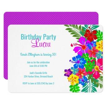 Luau Birthday Party Purple Hibiscus Swag Invitation