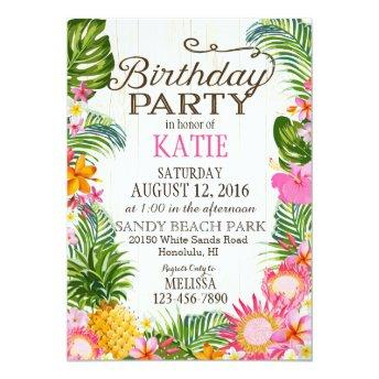 Luau Hawiian Beach Rustic Birthday Party