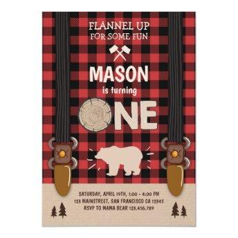 Lumberjack Birthday Invitation Woodland Plaid Red
