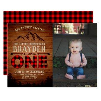 Lumberjack Buffalo Plaid First Birthday Photo Invitation