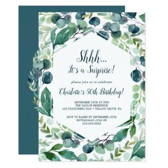 Lush Greenery and Eucalyptus Surprise Party Invitation