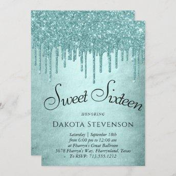 Luxurious Drip Sweet 16 | Glitter Pour Script Invitation