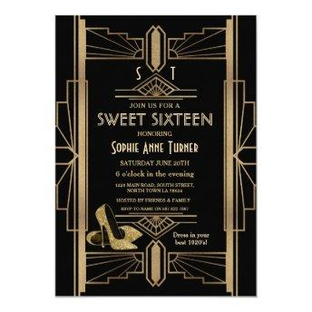 Luxury 20's Great Gatsby Gold Art Deco SWEET 16 Invitation