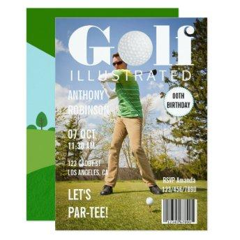 Magazine Celebrity Golf Birthday Party photo Invitation