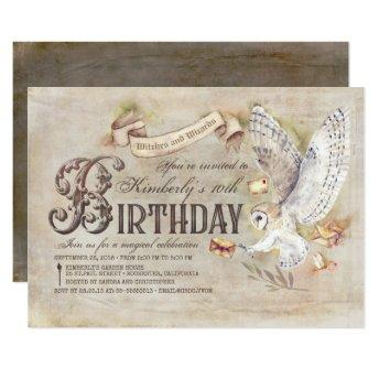 Magic Owl Wizard Birthday Invitation