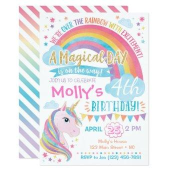 Magical Unicorn Birthday  Rainbow Invite