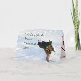 Mailbox in the Snow with Pine & Bells- customize Holiday Invitation