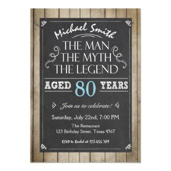 Man Birthday invitation Chalkboard Rustic Adult 80