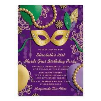 Mardi Gras Mask Birthday Invitation