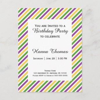 Mardi Gras Stripe Birthday Invitation PostInvitation
