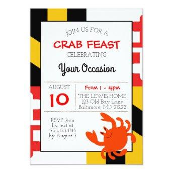 Maryland Flag Happy Crab Nautical All Occasion Invitation