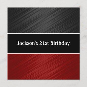 Masculine Black Dark Red Stripes Party Invitation