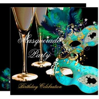 Masquerade Birthday Party Teal Blue Gold Masks